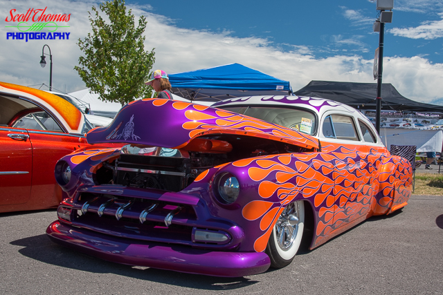 Purple and Orange Flamed Hot Rod